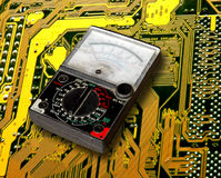 Volt meter on  circuit board Royalty Free Stock Images