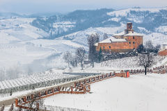 Volta Castle in winter. Volta Castle (Castell della Volta) and vineyards of Langhe covered with snow in winter in Piedmont, Northern Italy Stock Photography