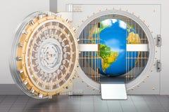 Volta di banca interna del globo della terra Concetto di protezione e di sicurezza, royalty illustrazione gratis