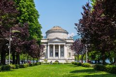 The Volta Temple in Como town, Italy. Como, Italy - May 27, 2016: The museum of Como called Volta Temple and dedicated to the scientist Alessandro Volta who Stock Images