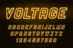 Voltage neon light alphabet, realistic extra glowing font vector illustration