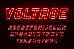 Voltage neon light alphabet, realistic extra glowing font. With brick wall background. Exclusive swatch color control royalty free illustration