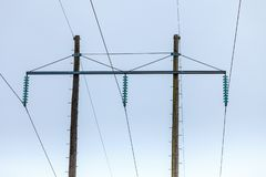 Voltage poles, electricity pylon, transmission power tower stock images