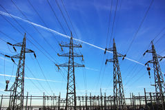 Voltage power lines Royalty Free Stock Photos