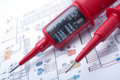 Voltage tester. On electrical diagram stock images