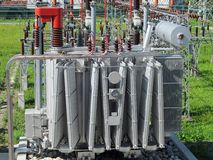 Voltage transformer inside of a powerhouse Stock Image