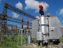 Voltage transformer inside of a powerhouse Stock Images