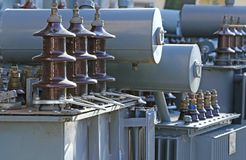 Voltage transformers in a landfill of electrical equipment Stock Images