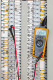 Voltage 24 Vdc Measurement connectivity at terminal of Electrical control panel,terminal ,Voltage measurement royalty free stock photography