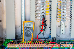 Voltage 24 Vdc Measurement connectivity at terminal of Electrica Royalty Free Stock Image