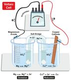 Voltaic Galvanic Cell. With copper cathode and magnesium anode salt bridge voltmeter and process of oxidation and reduction diagram for physics and chemistry Stock Photography