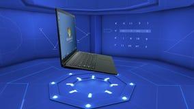 Voltas abertas do portátil no ambiente digital vídeos de arquivo