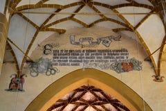 Volte dentro la chiesa fortificata Biertan, la Transilvania del sassone Immagini Stock