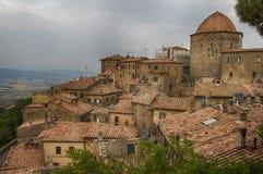 Voltera Tuscany Italy City. Voltera Tuscany Landscape June Ancient city rooftops stock photo