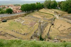 Volterra-Amphitheatre Stock Images