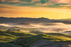 Volterra foggy panorama, rolling hills and green fields on sunset. Tuscany, Italy royalty free stock image