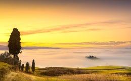 Volterra mgła i morze chmury, toczna wzgórze panorama na zmierzchu obraz royalty free