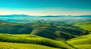 Volterra mgłowa panorama, toczni wzgórza i zieleni pola w m, zdjęcia stock