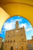 Volterra, palácio medieval Palazzo Dei Priori, estado de Pisa, Tuscan Fotografia de Stock