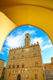 Volterra, palais médiéval Palazzo Dei Priori, état de Pise, le Toscan Photographie stock