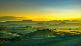Volterra panorama, rolling hills and green fields at sunset. Tus Royalty Free Stock Images