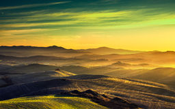 Volterra panorama, rolling hills and green fields. Tuscany, Ital Royalty Free Stock Image