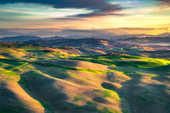 Volterra panorama, rolling hills and green fields. Tuscany, Ital Royalty Free Stock Photography
