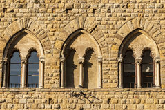 Volterra (Pisa) - Three mullioned windows Royalty Free Stock Photography