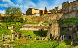 Volterra, roman theatre ruins. Tuscany, Italy. Stock Photography