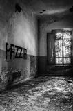 Volterra's sanitarium. Volterra, Italy - September 2016: Abandoned psychiatric hospital in Volterra. It was home to more than 6,000 mental patients but was shut stock photography