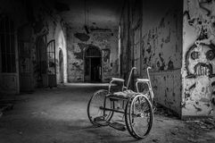 Volterra's sanitarium. Volterra, Italy - September 2016: Abandoned psychiatric hospital in Volterra. It was home to more than 6,000 mental patients but was shut royalty free stock image