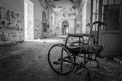 Volterra`s sanitarium. Volterra, Italy - September 2016: Abandoned psychiatric hospital in Volterra. It was home to more than 6,000 mental patients but was shut stock photo