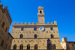 Volterra town, medieval palace Palazzo Dei Priori landmark Stock Image