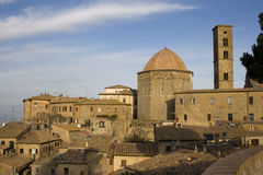 Volterra - Tuscany. View on Cathedral of Santa Maria Assunta, baptistery and bell tower - Italy Stock Images
