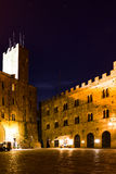 Volterra Tuscany, Piazza Dei Priori By Night Stock Photography