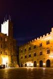 Volterra Tuscany, Piazza Dei Priori By Night. Volterra, Tuscany, Italy - Piazza Dei Priori by night with Palazzo Pretorio and Torre del Porcellino in the left Stock Photography