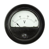 Voltmeter. Vintage ancient voltmeter isolated on white background royalty free stock photo