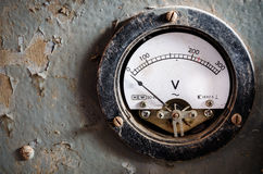 Voltmeter. Old used analog voltmeter background Stock Images