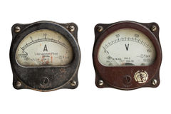 Voltmeter and ammeter isolated on white background. Vintage ammeter and voltmeter isolated Royalty Free Stock Images