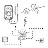 Voltmeter, electricity meter and electrical circuit sketch Royalty Free Stock Photography