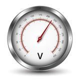 Voltmeter. Vector voltmeter metallic gauge illustration Royalty Free Stock Images
