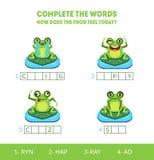 Voltooi de Woorden, hoe de Kikker vandaag voelt, Schreeuwend, Gelukkig, Gek, Droevig, Passend Spel met Leuk Amfibiedier stock illustratie