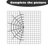 Voltooi het beeld, spinneweb die in beeldverhaalstijl, vaardigheden trekken opleidend, onderwijsdocument spel voor de ontwikkelin stock illustratie