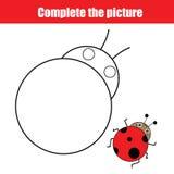 Voltooi het onderwijs de tekeningsspel van beeldkinderen, kleuringspagina voor jonge geitjes Royalty-vrije Stock Foto