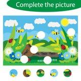 Voltooi het raadsel en vind de ontbrekende delen van het beeld, het onderwijsspel van de insectpret voor kinderen, peuteraanteken royalty-vrije illustratie