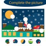Voltooi het raadsel en vind de ontbrekende delen van het beeld, het onderwijsspel van de Kerstmispret voor kinderen, peuteraantek vector illustratie