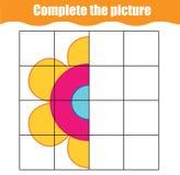 Voltooi het spel van beeld onderwijskinderen Voor het drukken geschikte peuters, het blad van de jonge geitjesactiviteit met eenv stock illustratie