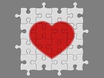 Voltooid mozaïek van raadsels met symbool van hart Stock Fotografie