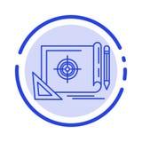 Voltooiing, Dossier, Dossierdoel, Marketing, de Lijnpictogram van de Doel Blauw Gestippelde Lijn royalty-vrije illustratie
