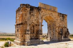 Volubilis är en romersk stad i Marocko nära Meknes Fotografering för Bildbyråer
